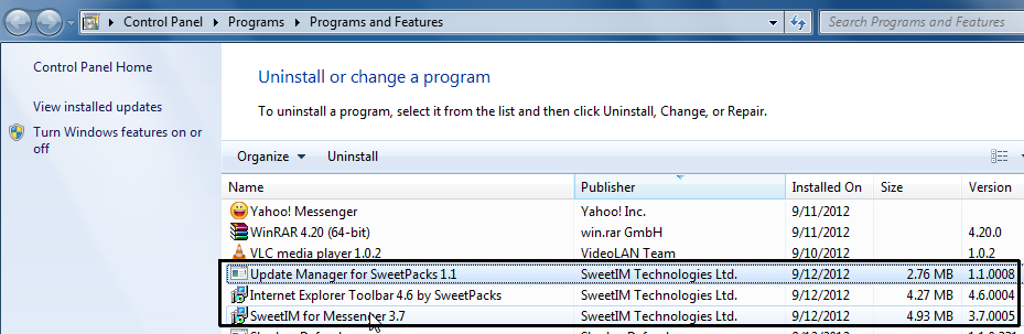 program developed by Sweetpacks and uninstall it from your computer