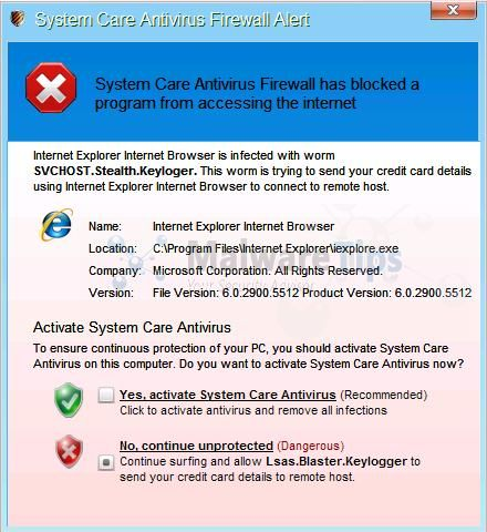 [Image: System Care Antivirus Warning]
