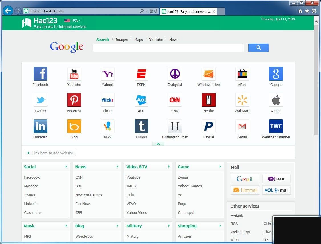 [Image: Hao123.com homepage virus]