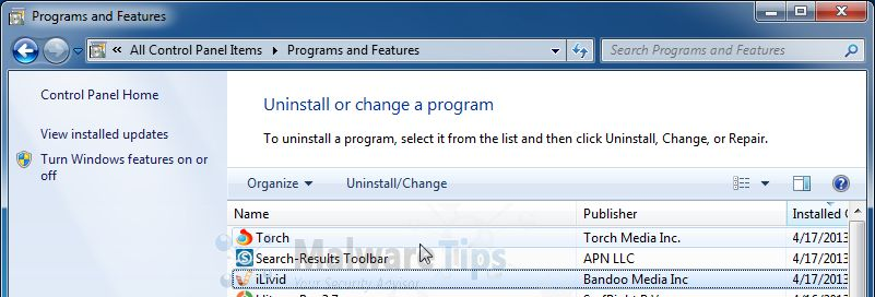 [Image: Uninstall iLivid programs]