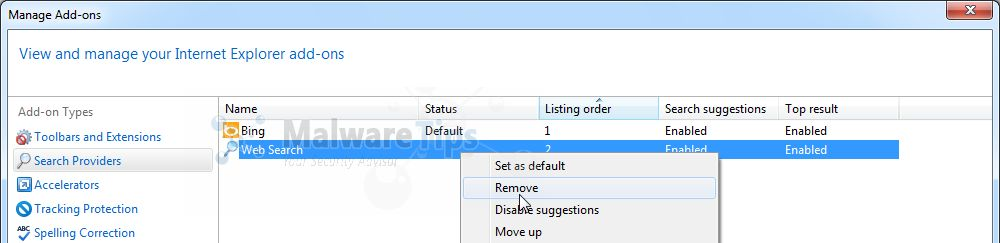 how to remove bing as default search engine internet explorer