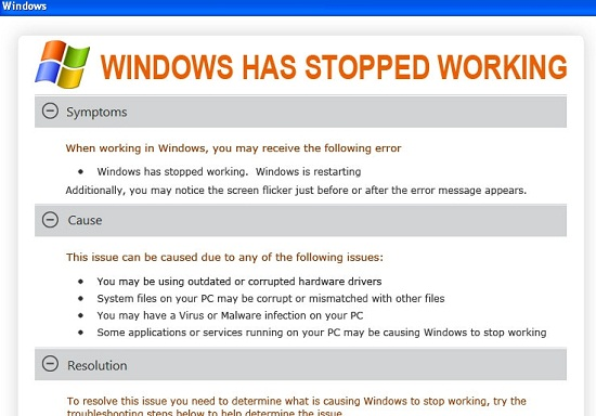 [Image: Windows has stopped working virus]