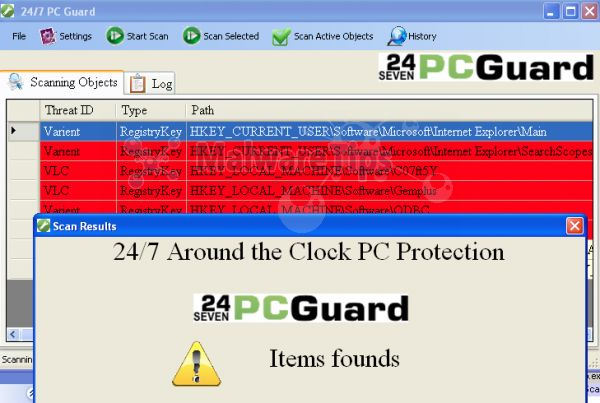 [Image: 24 Seven PC Guard scam]