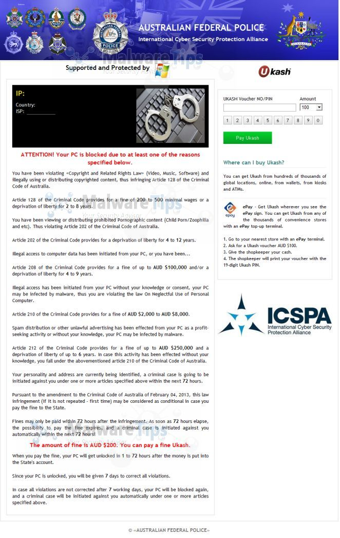 International Cyber Security Protection Alliance AFP scam