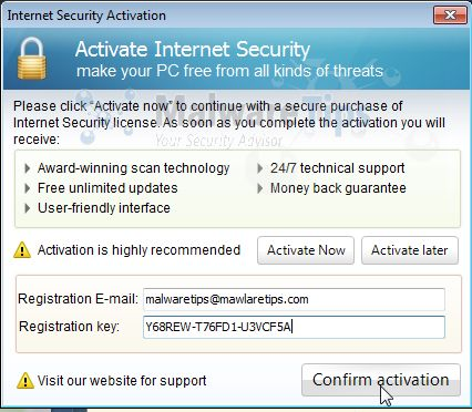 [Image: Internet Security designed to protect Activation code]