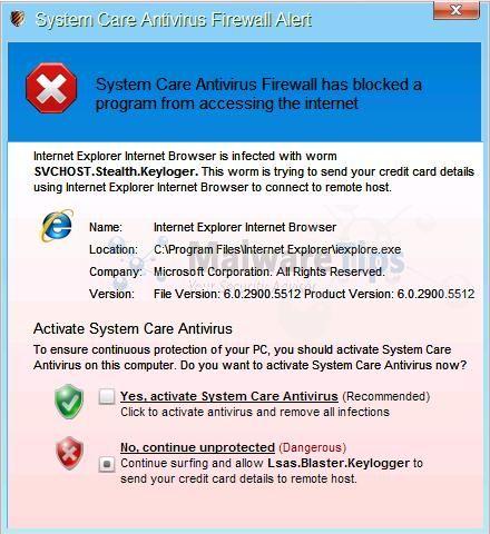 [Image: System Care Antivirus Firewall Alert]