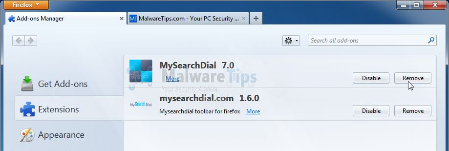 [Image: MySearchDial Firefox extension]