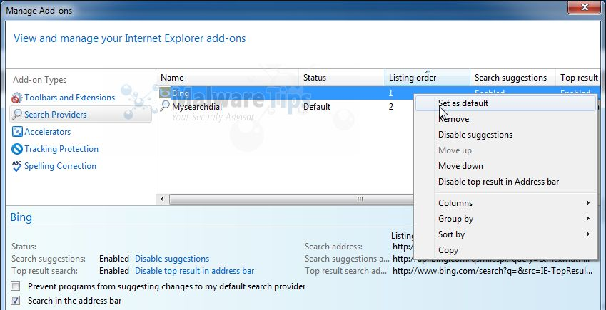 [Image: MySearchDial Search Internet Explorer]