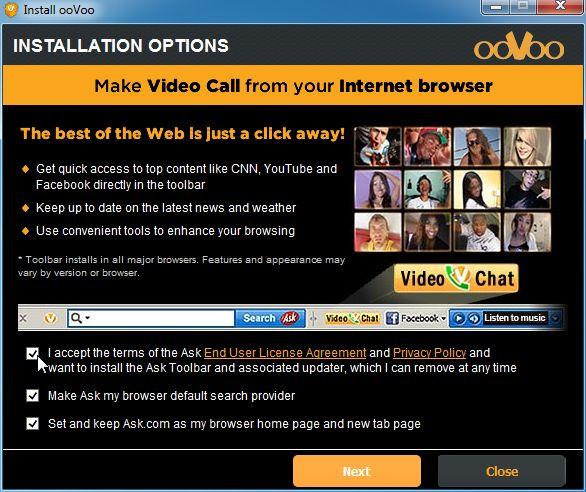 [Image: OoVoo Toolbar installation]