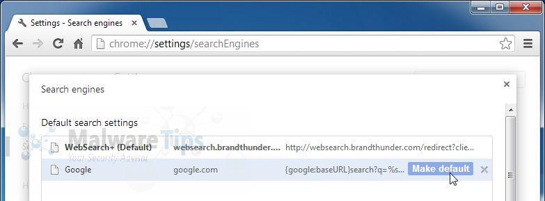 [Image: websearch brand thunder Chrome redirect]