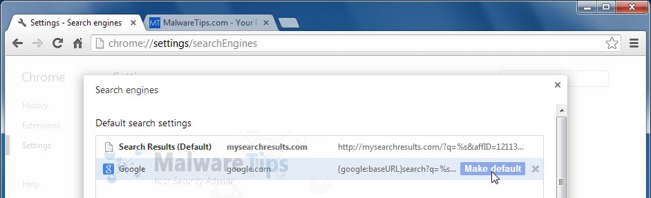 [Image: Change Chrome search engine from MySearchResults to Google