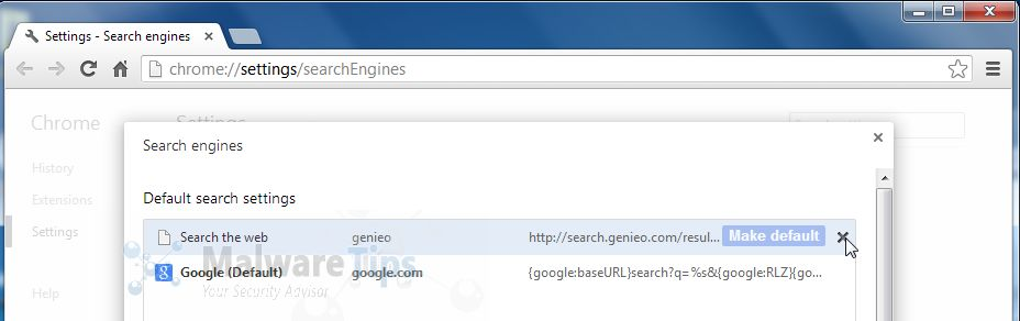 Change Google Chrome homepage from Genieo Search to its default .