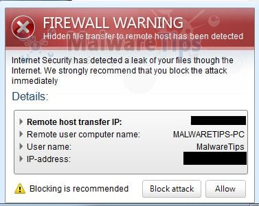 [Image: Internet Security 2013 Firewall Warning ]