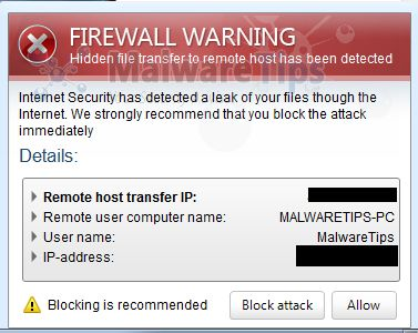 [Image: Internet Security Pro 2013 Firewall Warning]