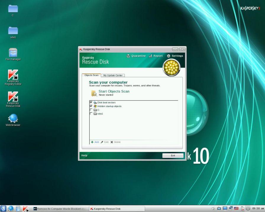 [Image: Kaspersky Rescue Disk scanner]
