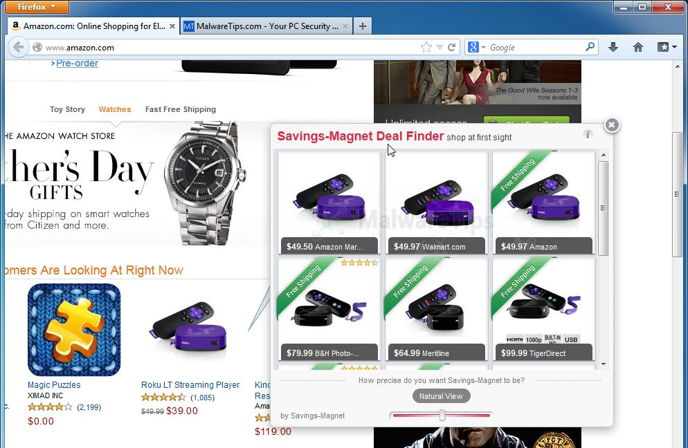 [Image: Savings-Magnet Deal Finder pop-up ads]