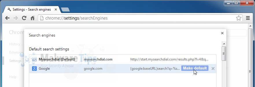 Search for Start.MySearchDial.com in the Search Engines list, and