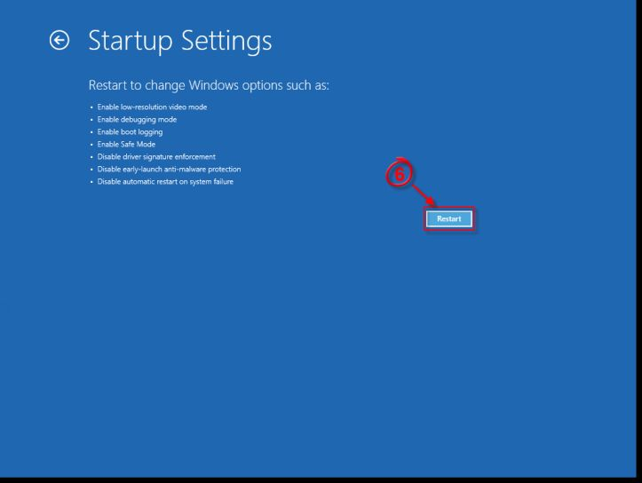 [Image: Windows 8 Restart button]