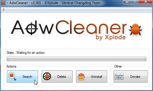 [Image: AdwCleaner scanning for Xvidly Toolbar]