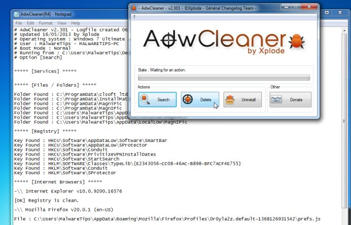[Image: Adwcleaner removing Xvidly Toolbar]