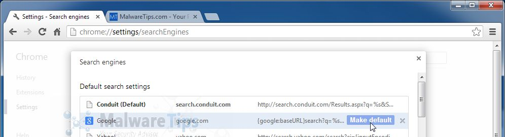 [Image: Change Chrome search engine from Conduit to Google]