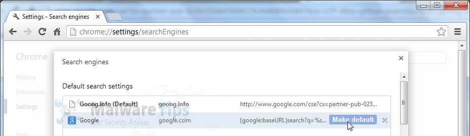 [Image: goong.info Chrome search