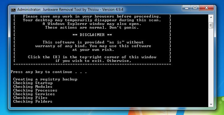 [Image: Junkware Removal Tool scanning for WebCake virus]