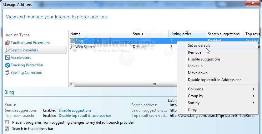 [Image: Pageset Search Internet Explorer redirect]