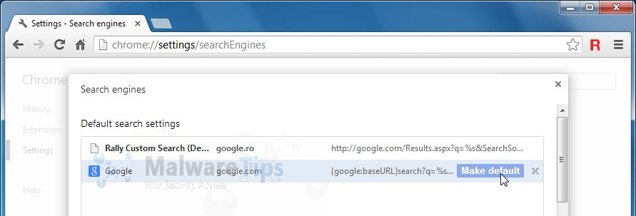 [Image: Rally Custom Search in Google Chrome]
