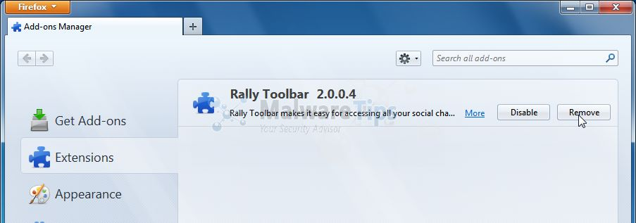 [Image: Rally Toolbar Firefox extension]