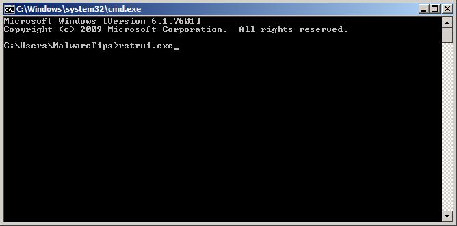 [Image: Start System Restore to remove Windows Paramount Protection virus]