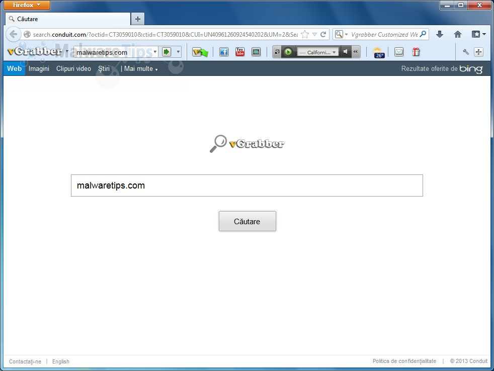 Remove vgrabber malicious program and vgrabber toolbar hijacker.