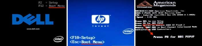 [Image: Windows Boot Menu screens]