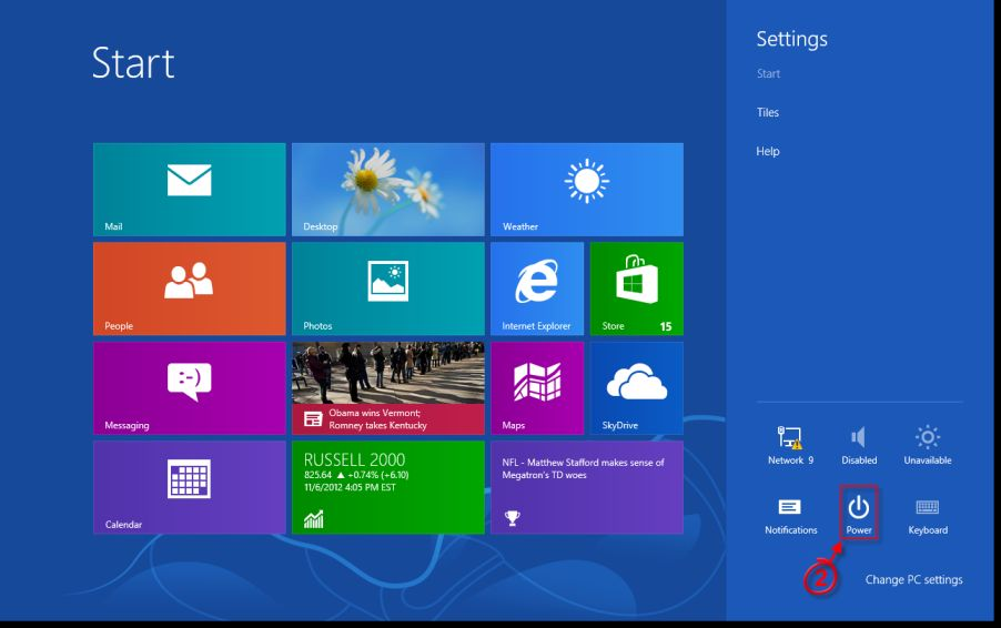 [Image: Windows 8 power button]