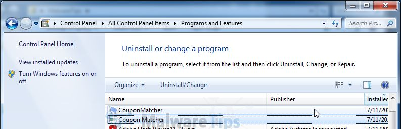 [Image: Uninstall Coupon Matcher program from Windows]