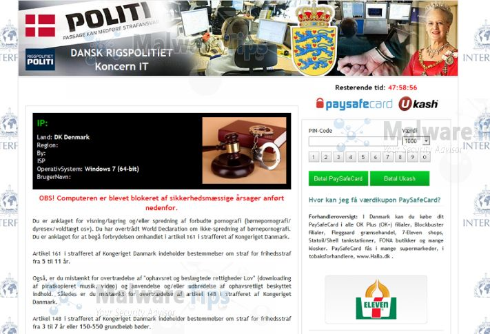 How did the dansk rigspolitiet virus got on my computer
