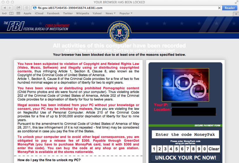 FBI Mac OS X Safari ransomware
