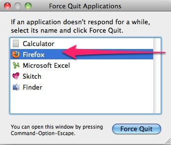 [Image: Select Firefox, Chrome or Safari from Force Quit menu]