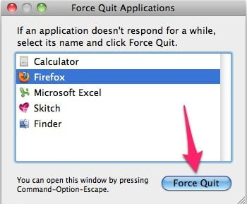 [Image: Click on the Force Quit button to remove FBI Mac OS X virus]