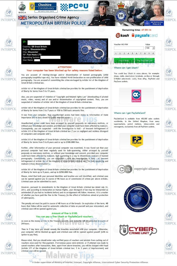 Metropolitan British Police lock screen virus
