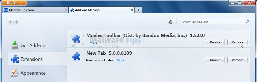 [Image: Movies Toolbar Firefox extension]
