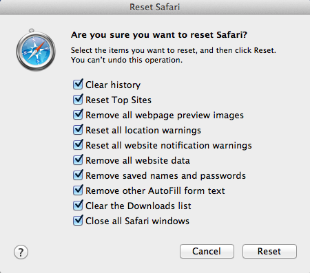 [Image: Reset Safari to default settings]