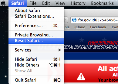 [Image: Select Reset Safari from the menu]
