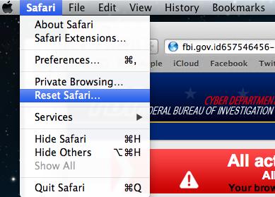 """Supprimer """"Gendarmerie Nationale"""" virus Apple Mac OS X """"en réinitialisant Safari à ses paramètres par défaut"""