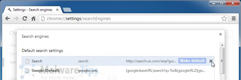 Change Google Chrome homepage from Start.search.us.com to its default