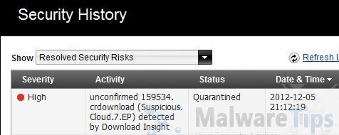 [Image: Suspicious.Cloud.7.EP detected by Norton Antivirus]