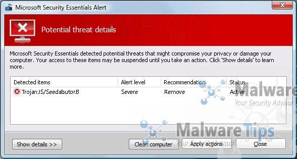 Remove Trojan:JS/Seedabutor.B virus (Removal Guide)