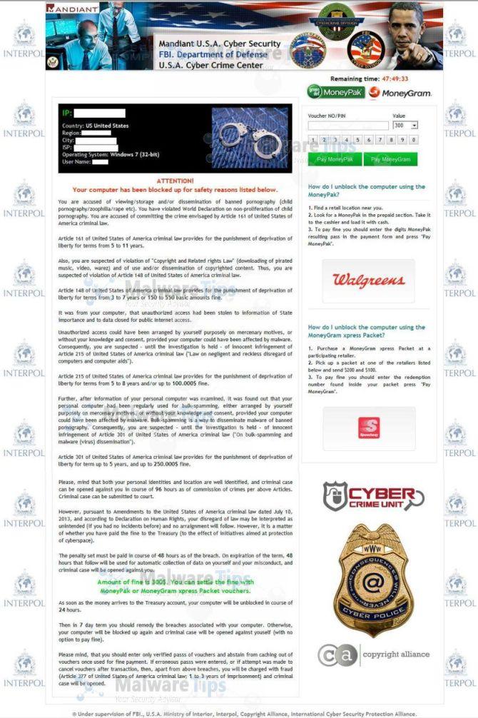 U.S.A. Cyber Crime Center lock screen virus