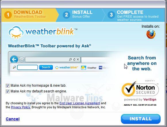 [Image: WeatherBlink Toolbar setup options]