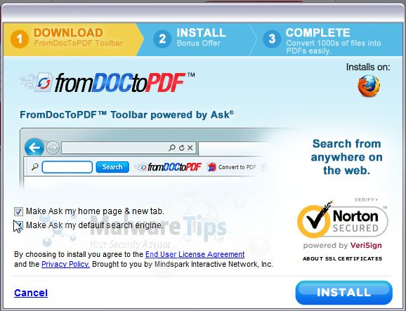 [Image: From Doc To Pdf Toolbar setup options]